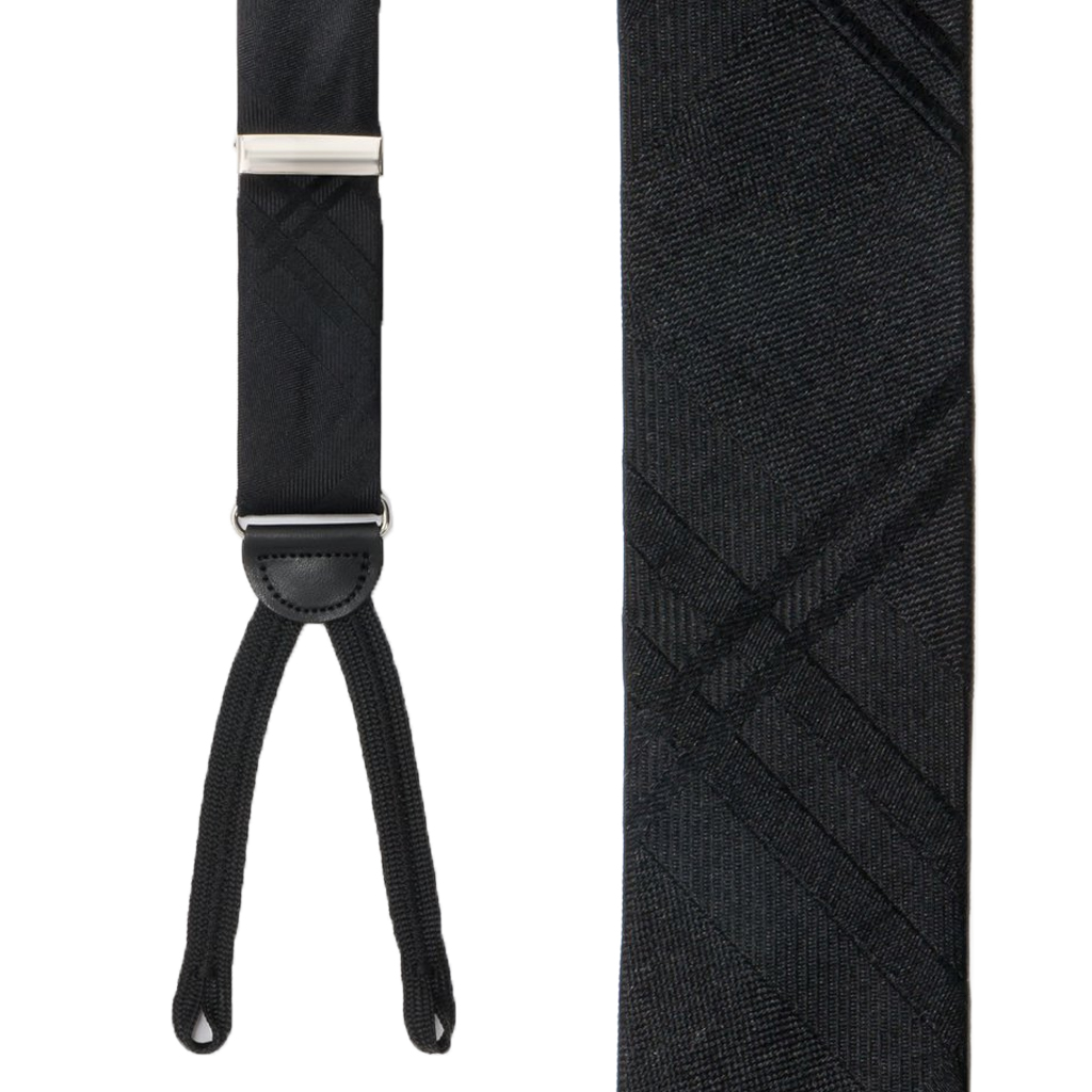 Black Plaid Silk Suspender - Front View