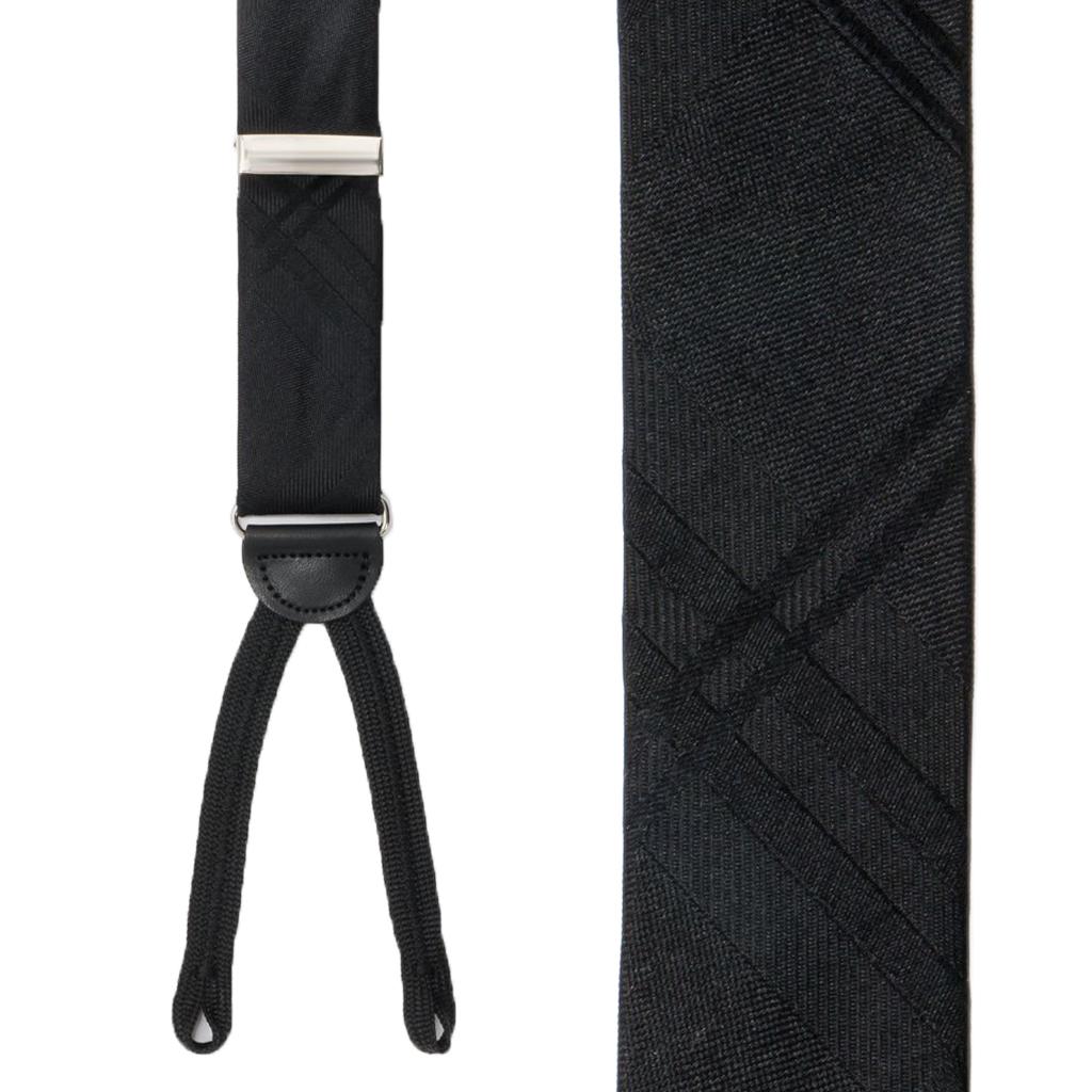 Black Plaid Silk Suspender - Front View