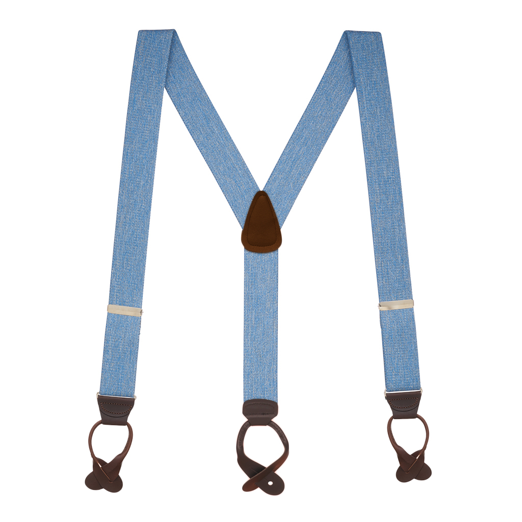 Full View - 1.5 Inch Wide Button Suspenders - DENIM