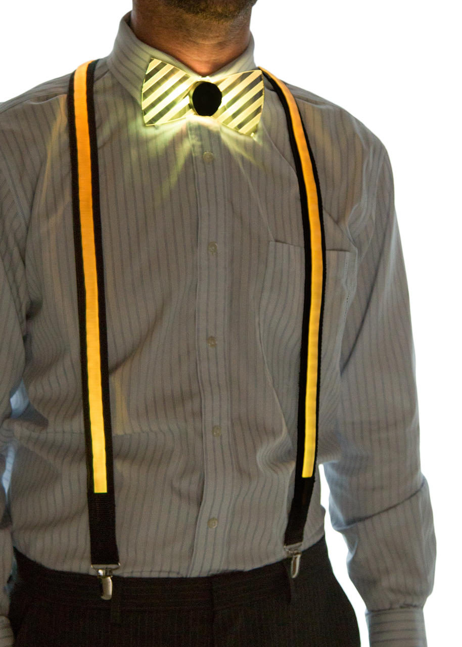 Light Up Suspenders Yellow on Model