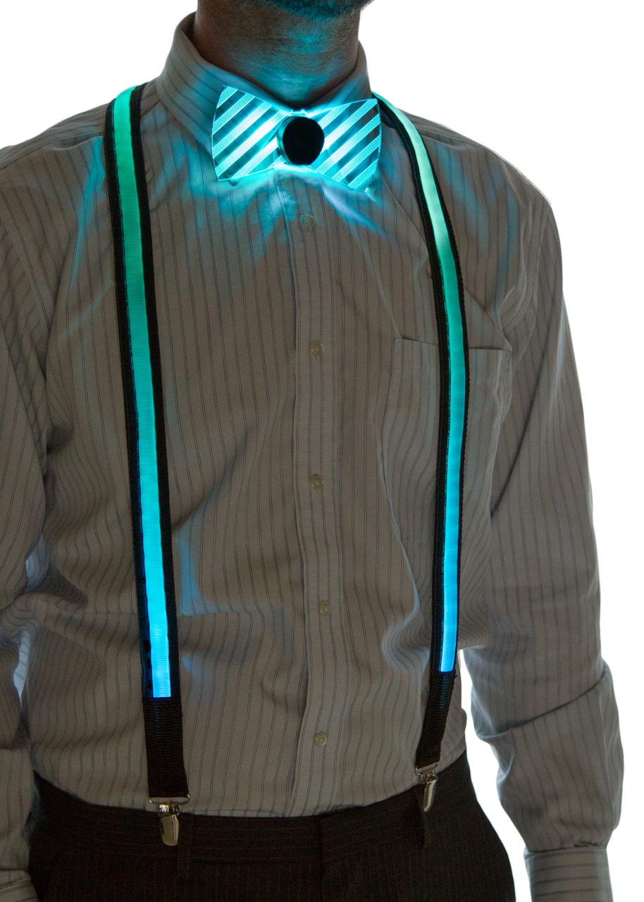 Light Up Suspenders Aqua on Model