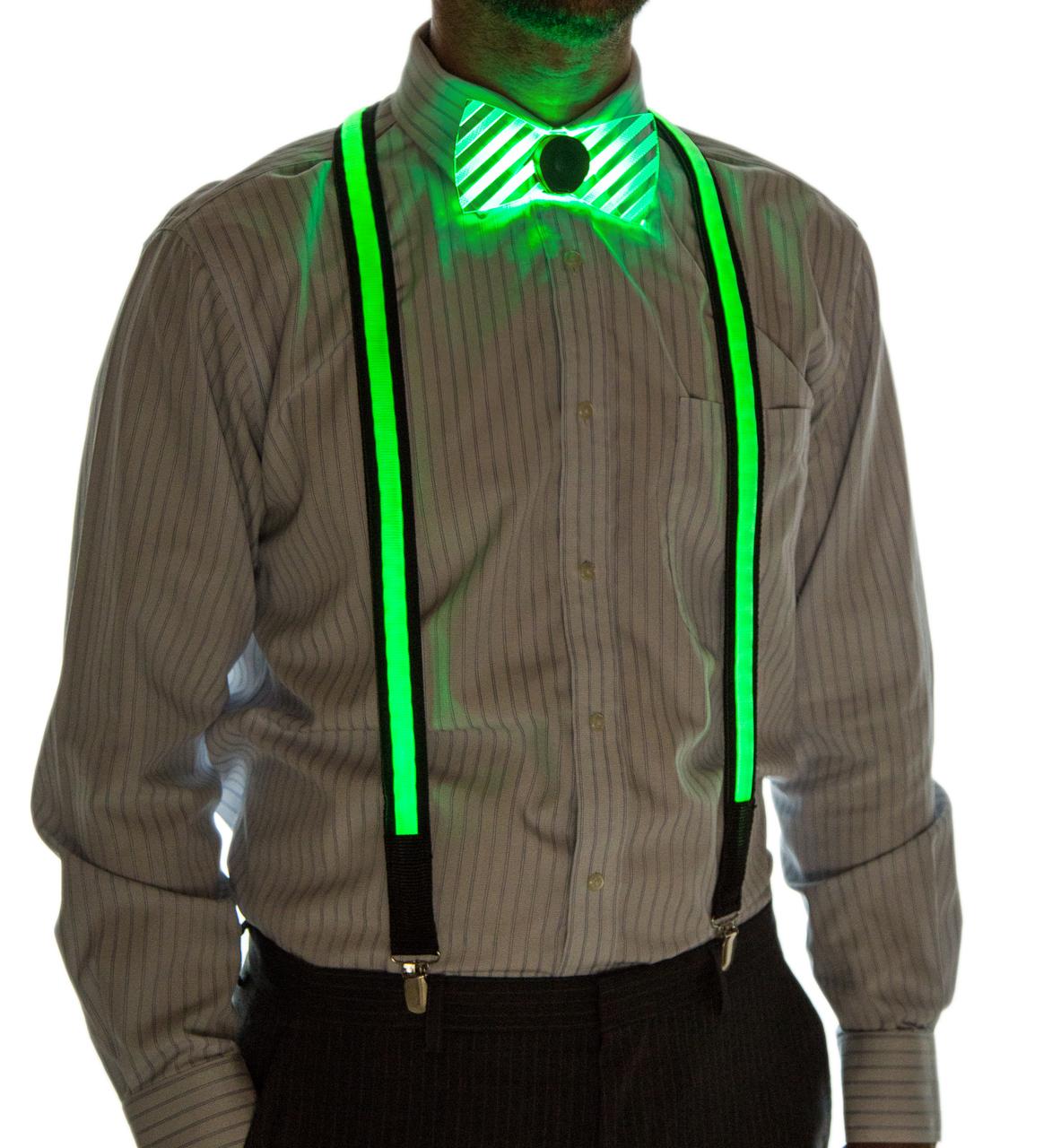 Light Up Suspenders Green on Model