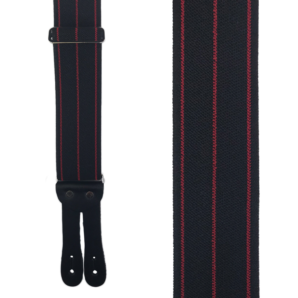 Tuff Stuff Button Suspenders in Black with Red Stripes - Front View
