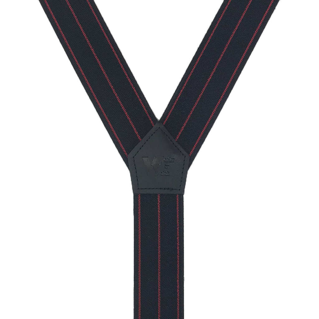 Tuff Stuff Button Suspenders in Black with Red Stripes - Rear View