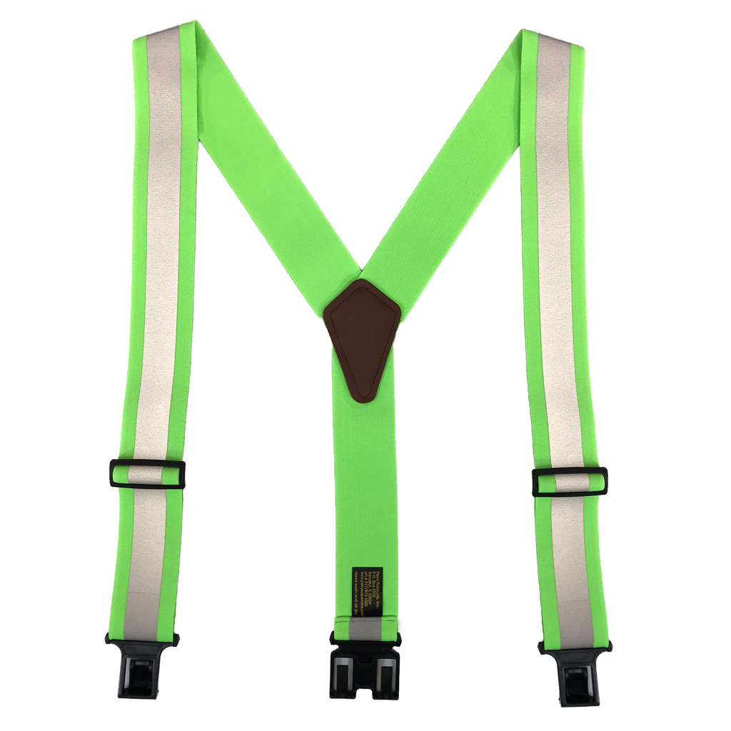 Perry Reflective Safety Suspenders in Lime - Full View