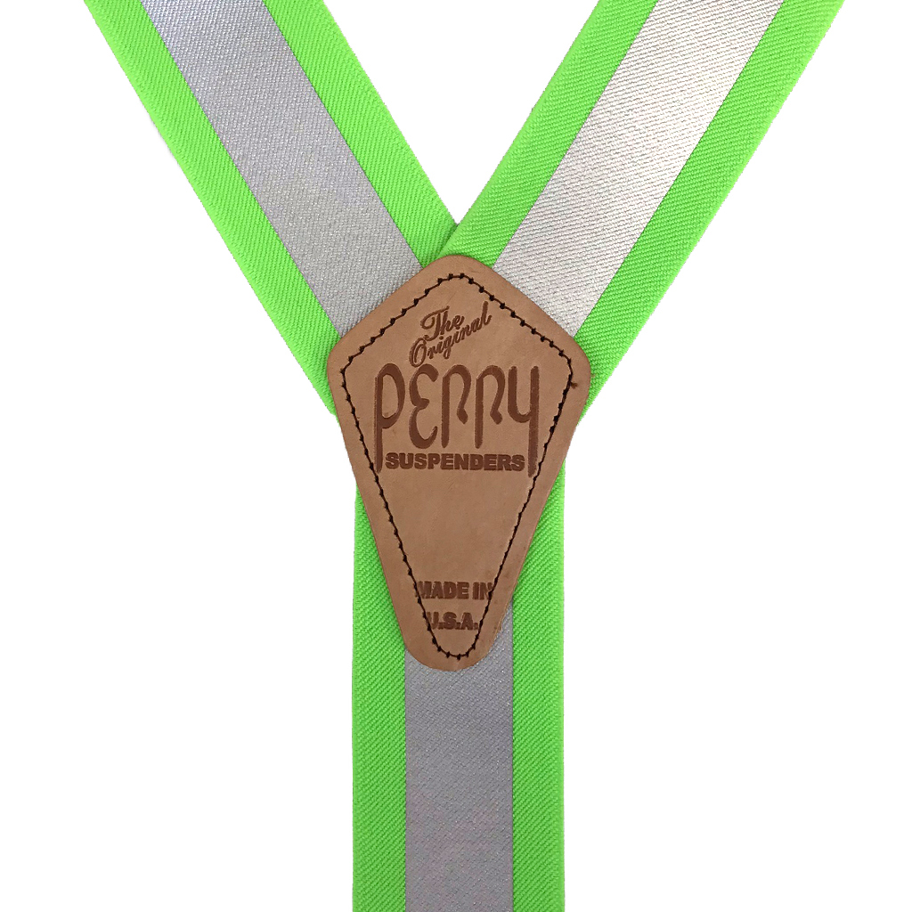 Perry Reflective Safety Suspenders in Lime - Rear View