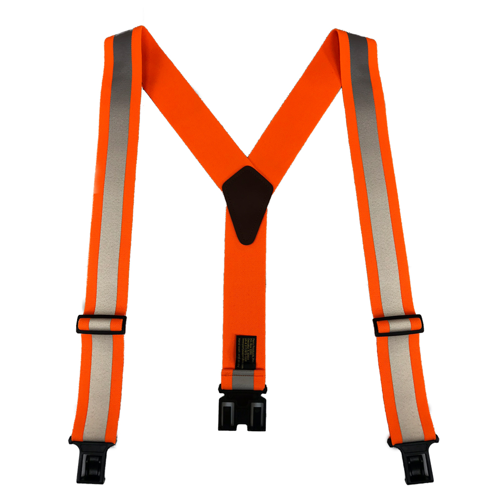 Perry Reflective Safety Suspenders in Orange - Full View