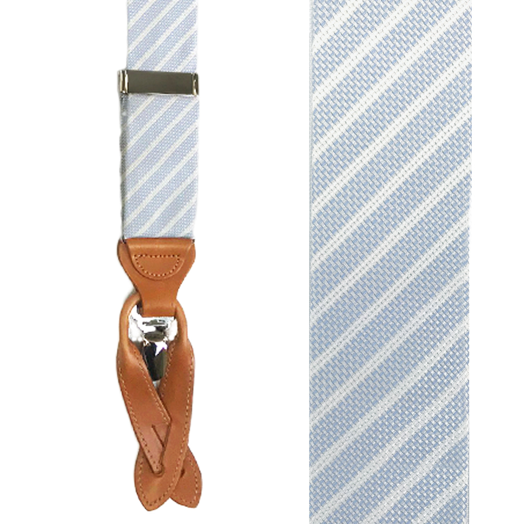 Trafalgar Striped Silk Suspenders in Blue - Front View