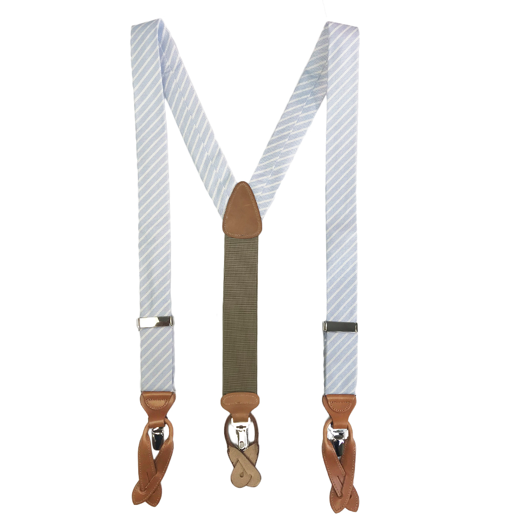 Trafalgar Striped Silk Suspenders in Blue - Full View