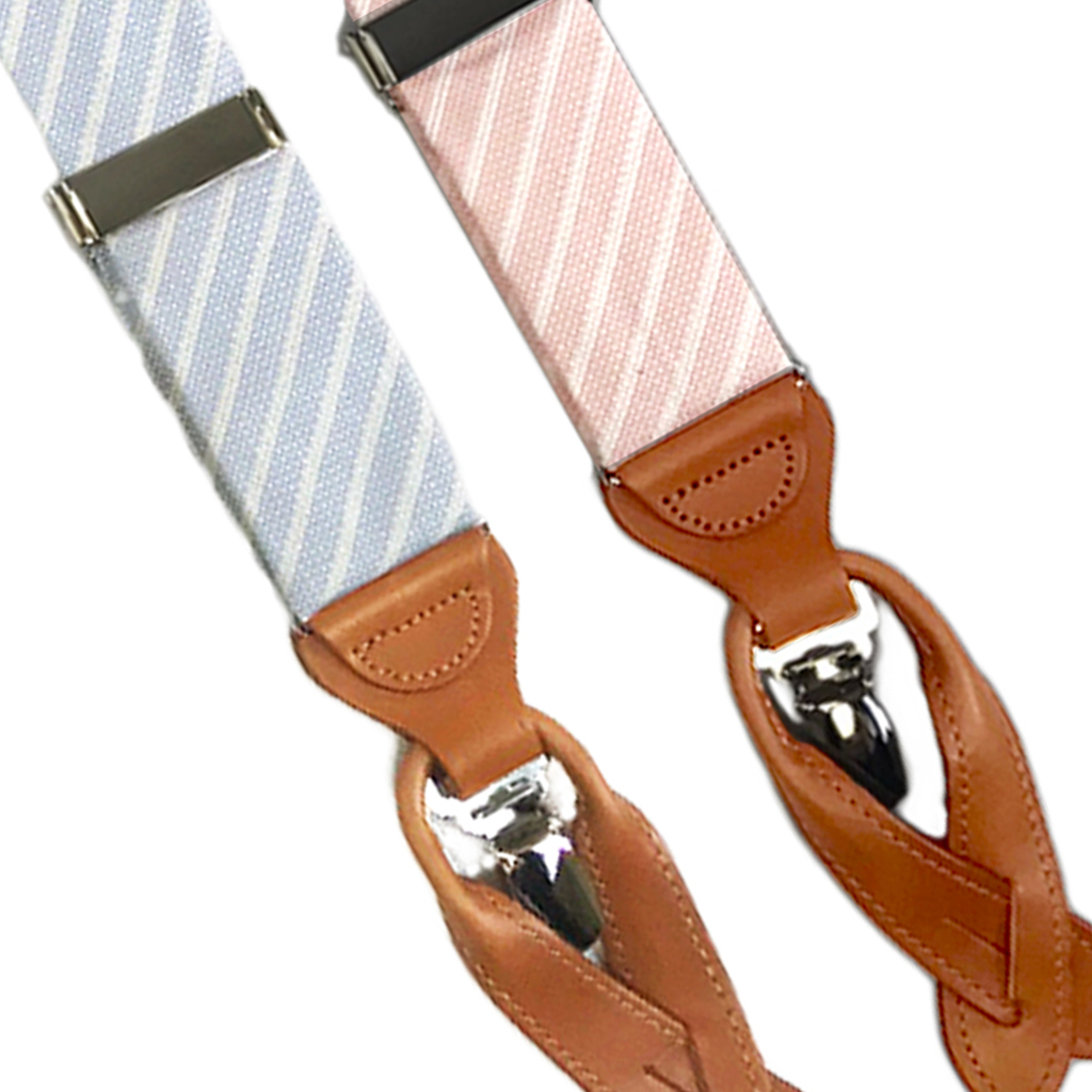 Diagonal Striped Silk Suspenders - Convertible