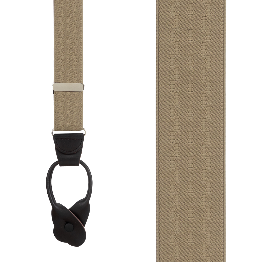 Jacquard New Wave Button Suspenders in Khaki - Front View