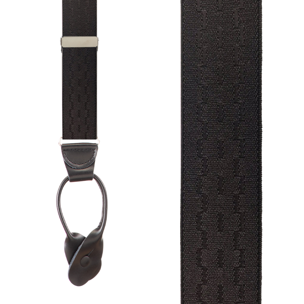 Jacquard New Wave Suspenders in Black - Front View