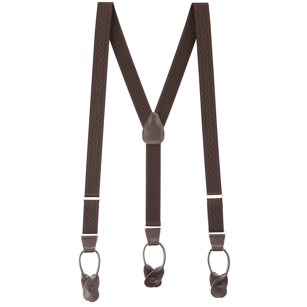 Jacquard New Wave Suspenders in Brown - Full View