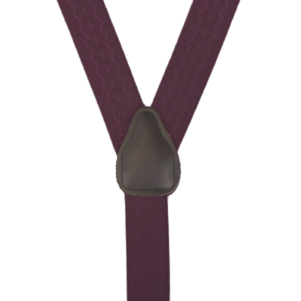 Jacquard New Wave Drop Clip Suspenders in Burgundy - Rear View
