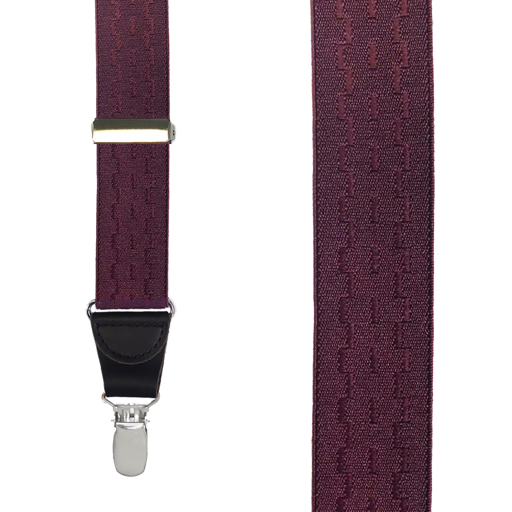 Jacquard New Wave Drop Clip Suspenders in Burgundy - Front View