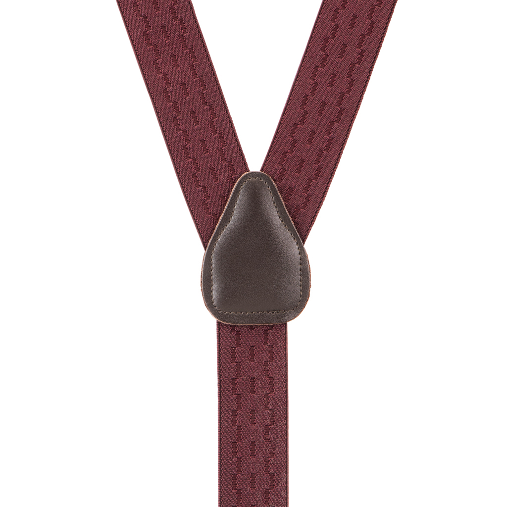 Jacquard New Wave Suspenders in Burgundy - Rear View