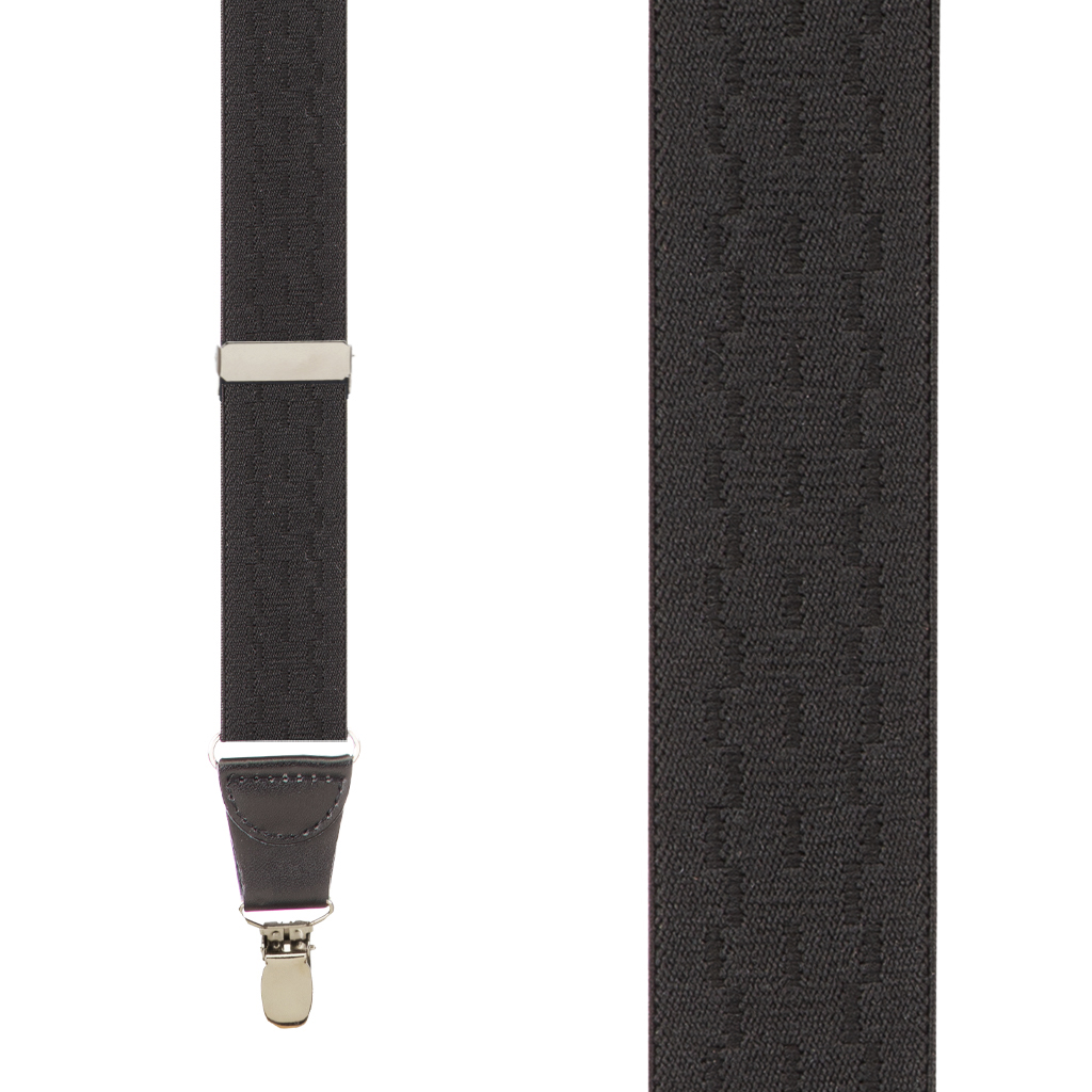 Jacquard New Wave Clip Suspenders in Black - Front View