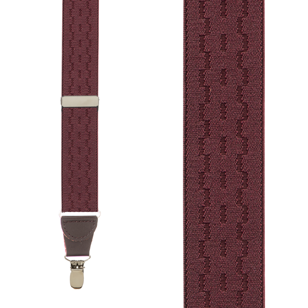 Jacquard New Wave Clip Suspenders in Burgundy - Front View