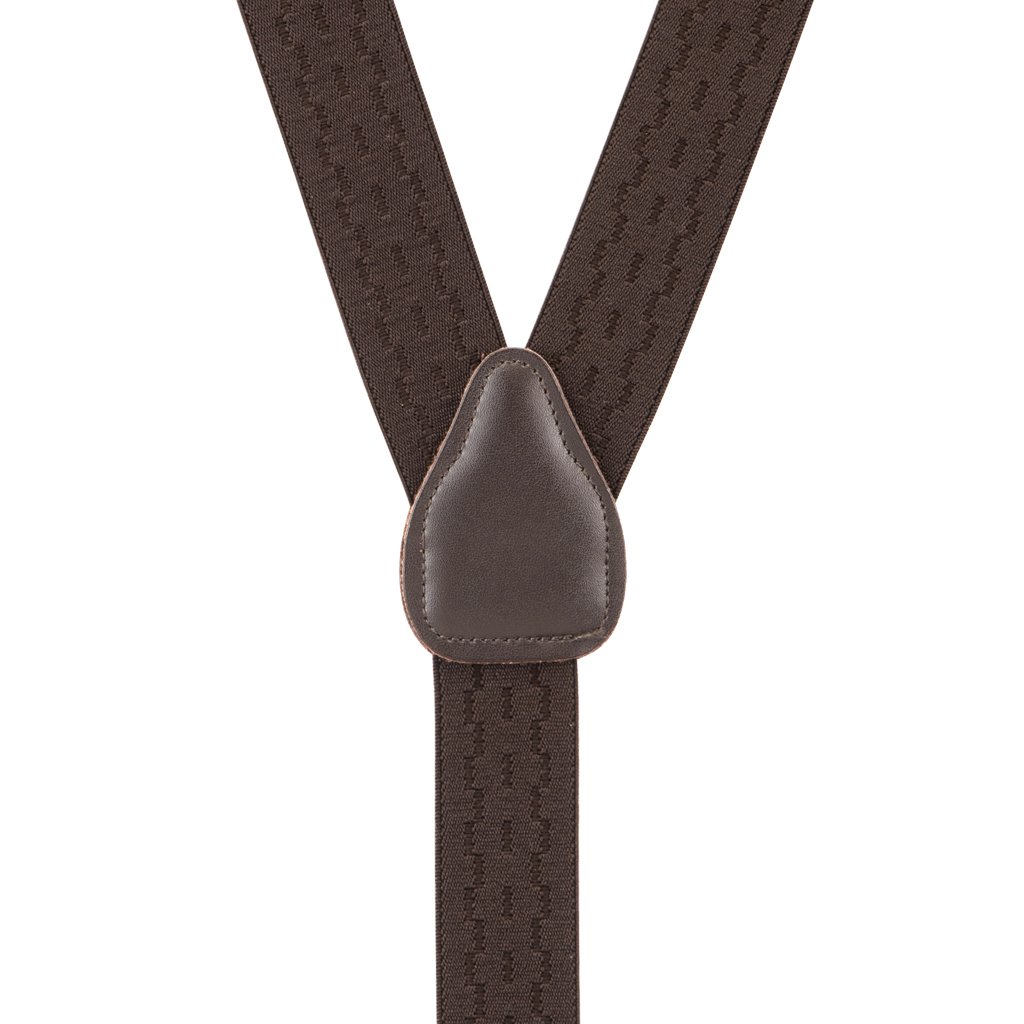Jacquard New Wave Clip Suspenders in Brown - Rear View