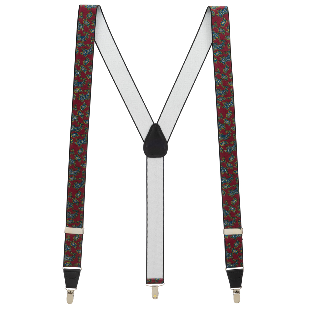 Paisley Drop Clip Suspenders in Burgundy - Full View