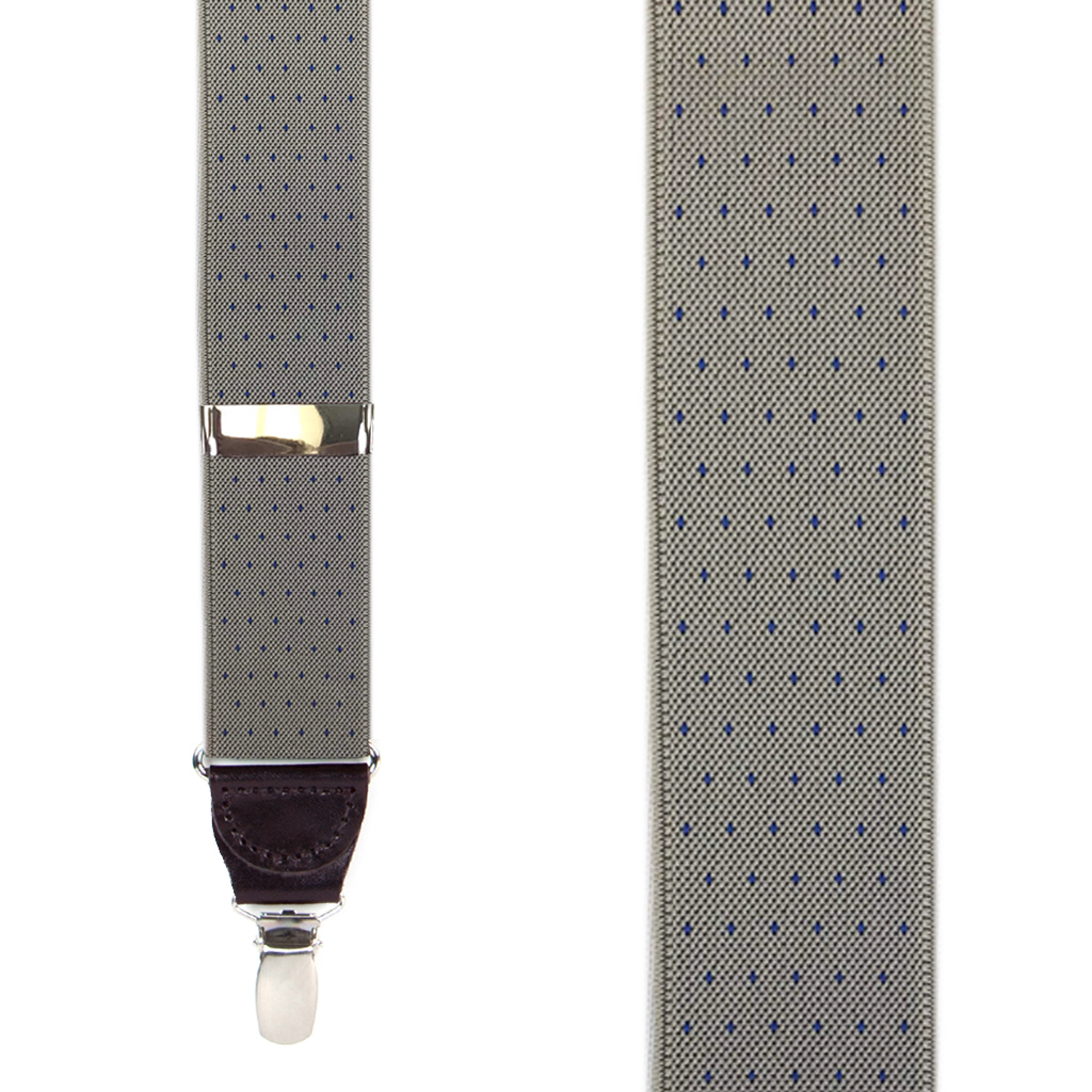 Woven Pin Dot Clip Suspenders in Tan - Front View