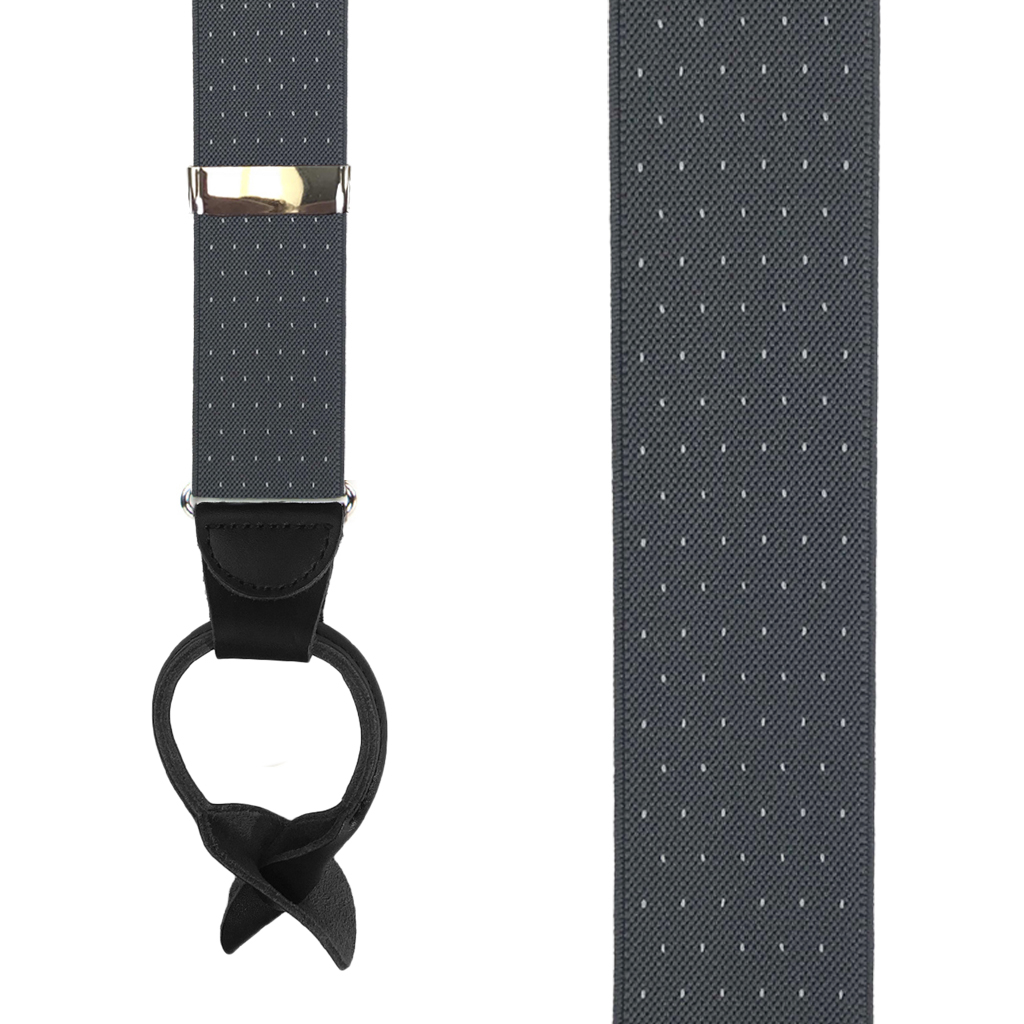 Woven Pin Dot Button Suspenders in Grey - Front View