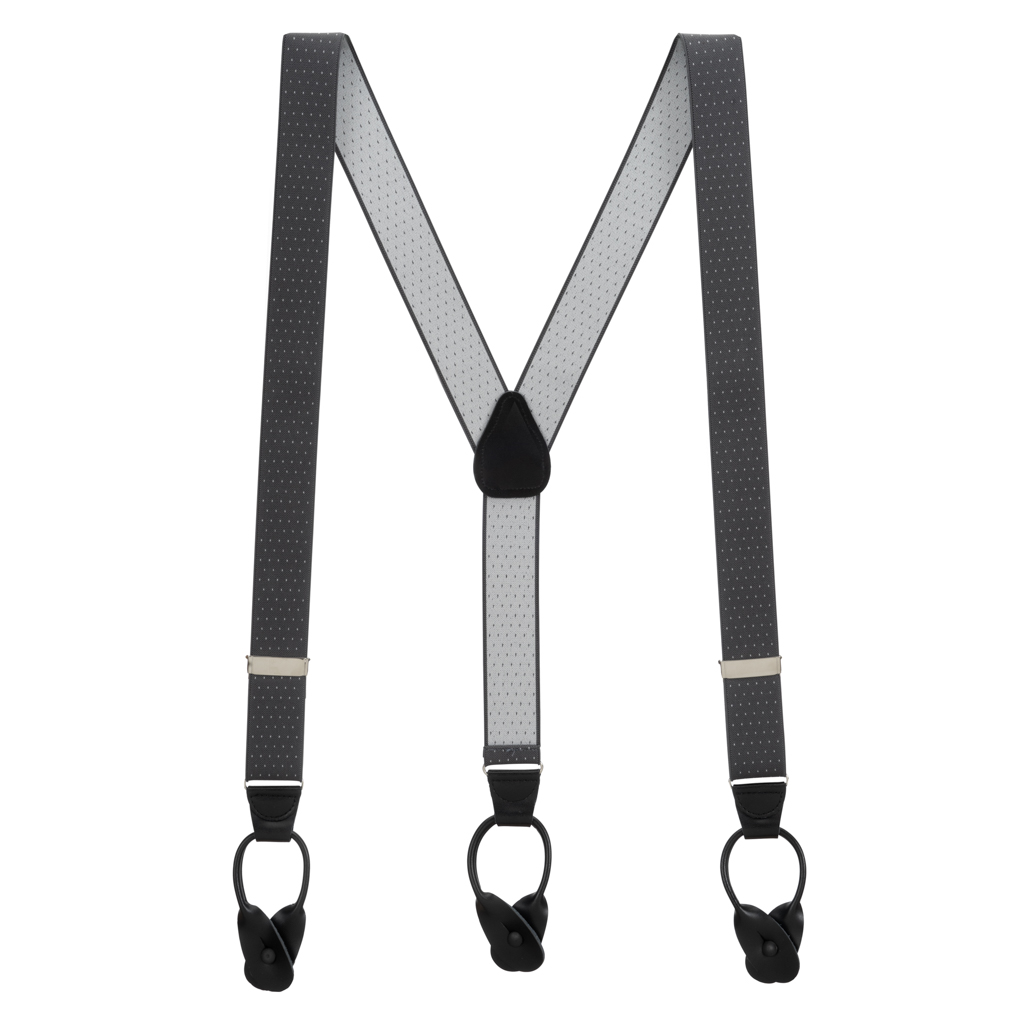 Woven Pin Dot Button Suspenders in Grey - Full View