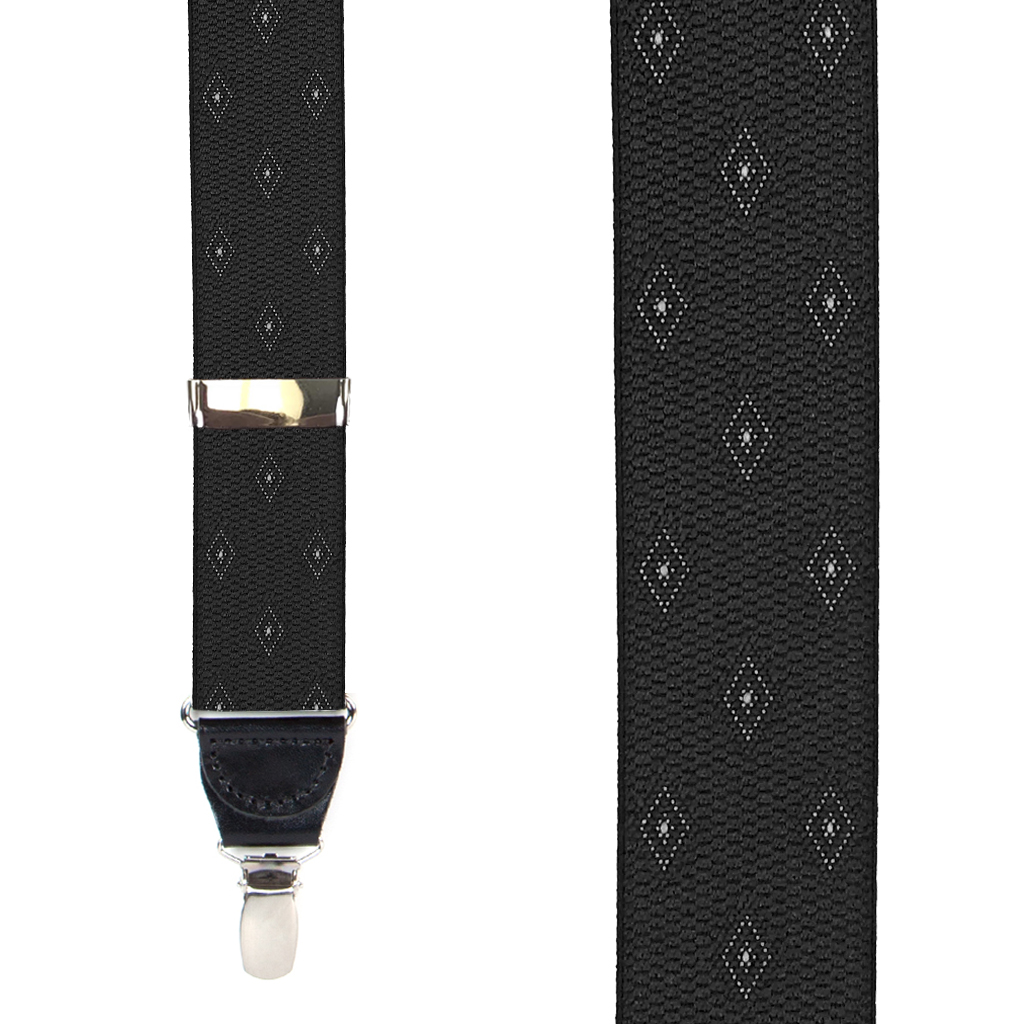 Jacquard Woven Diamond Drop Clip Suspenders in Black - Front View