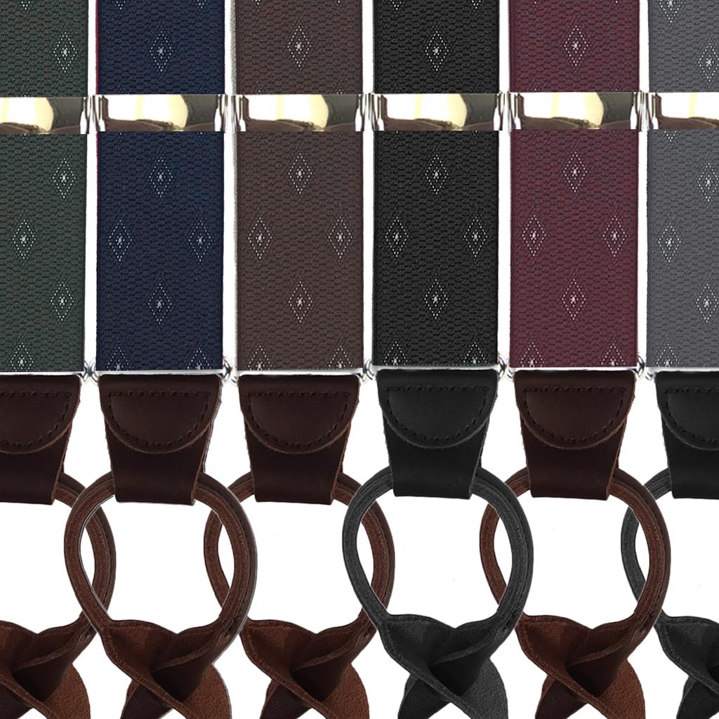 Jacquard Woven Diamond Button Suspenders - All Colors