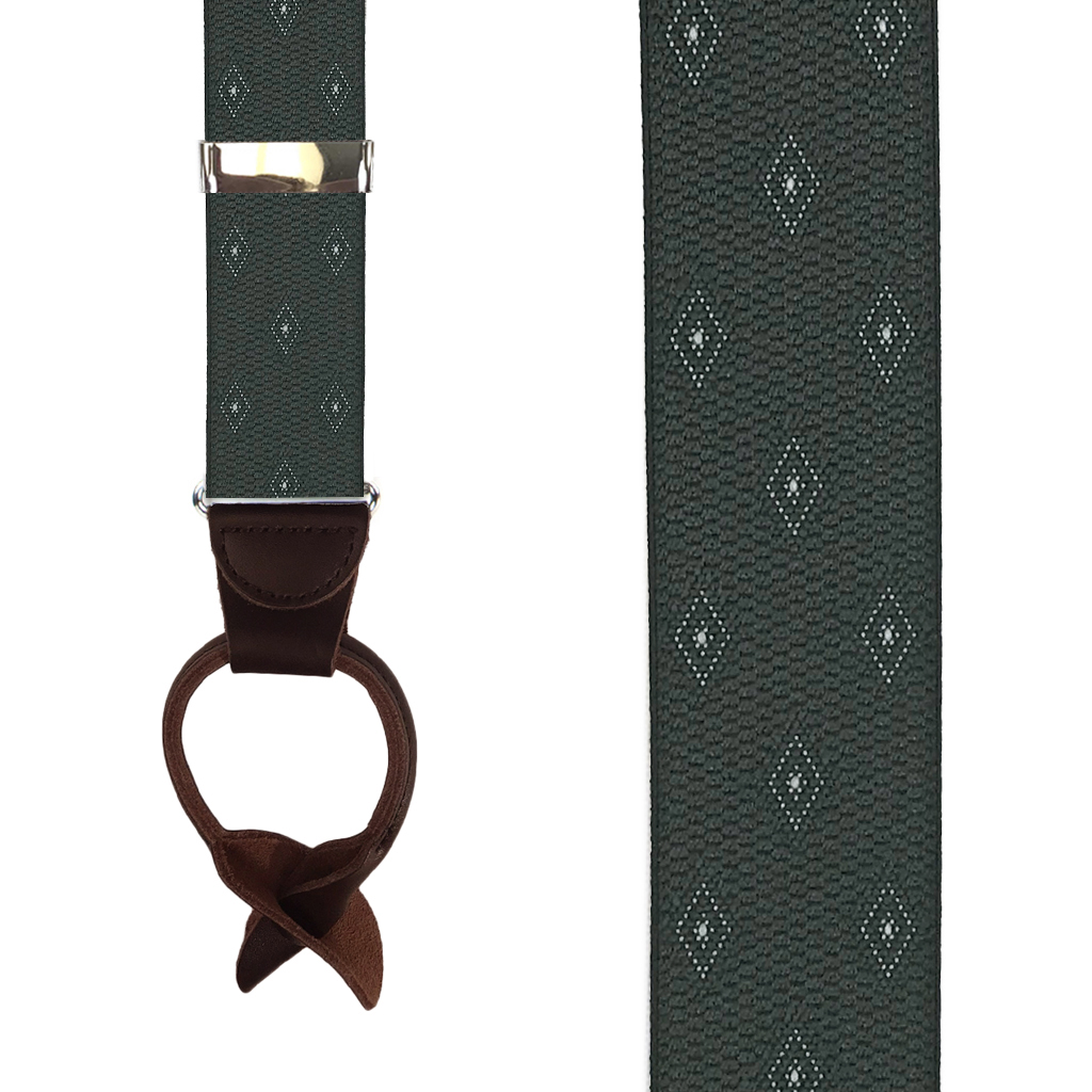 Jacquard Woven Diamond Button Suspenders in Olive - Front View
