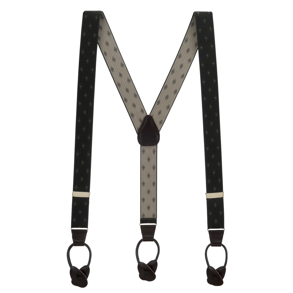 Jacquard Woven Diamond Suspenders in Olive - Full View