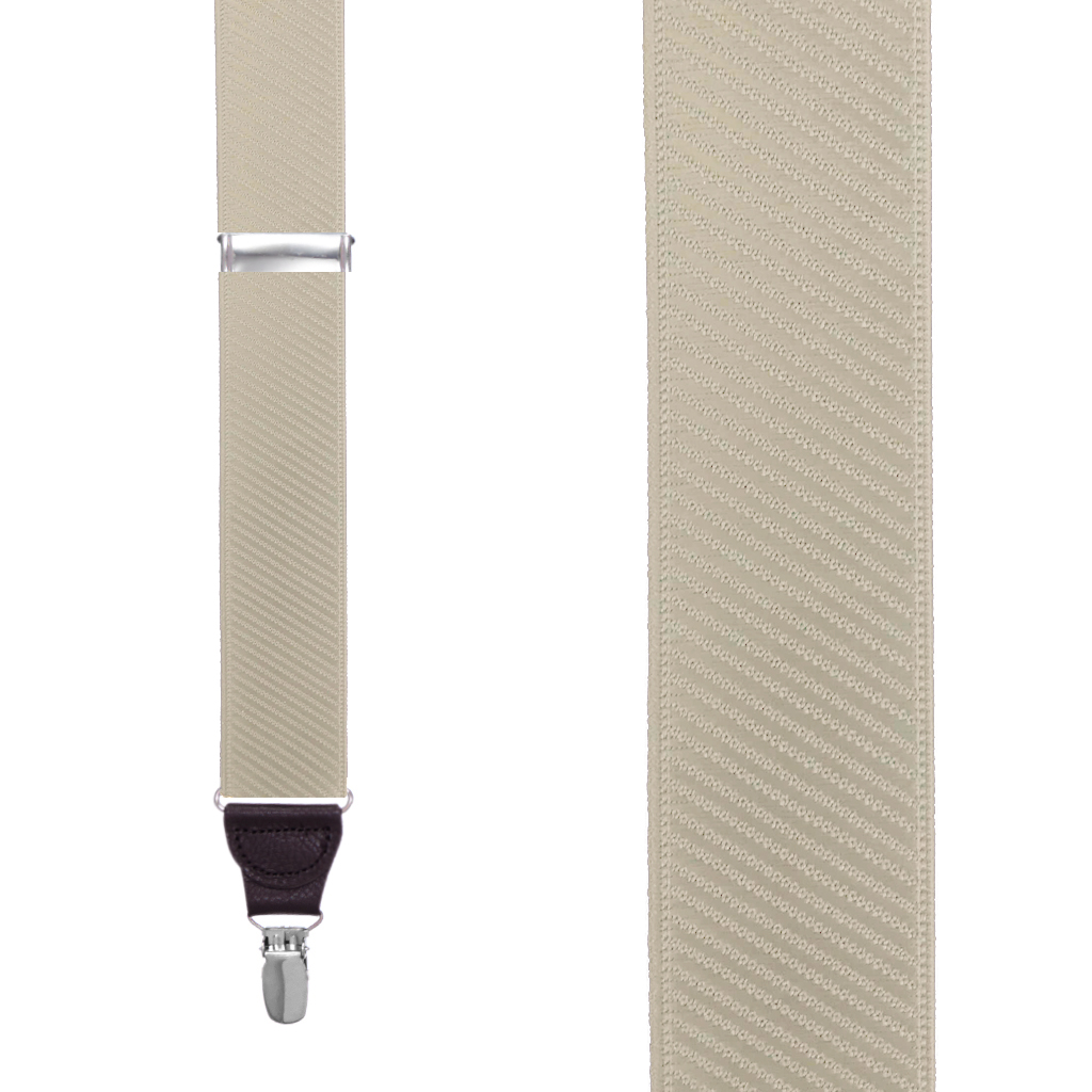 French Satin Twill Suspenders in Khaki - Front View