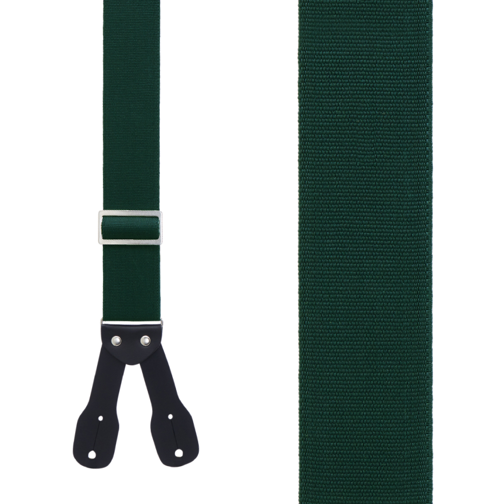 Logger Suspenders in Hunter Green - Front View