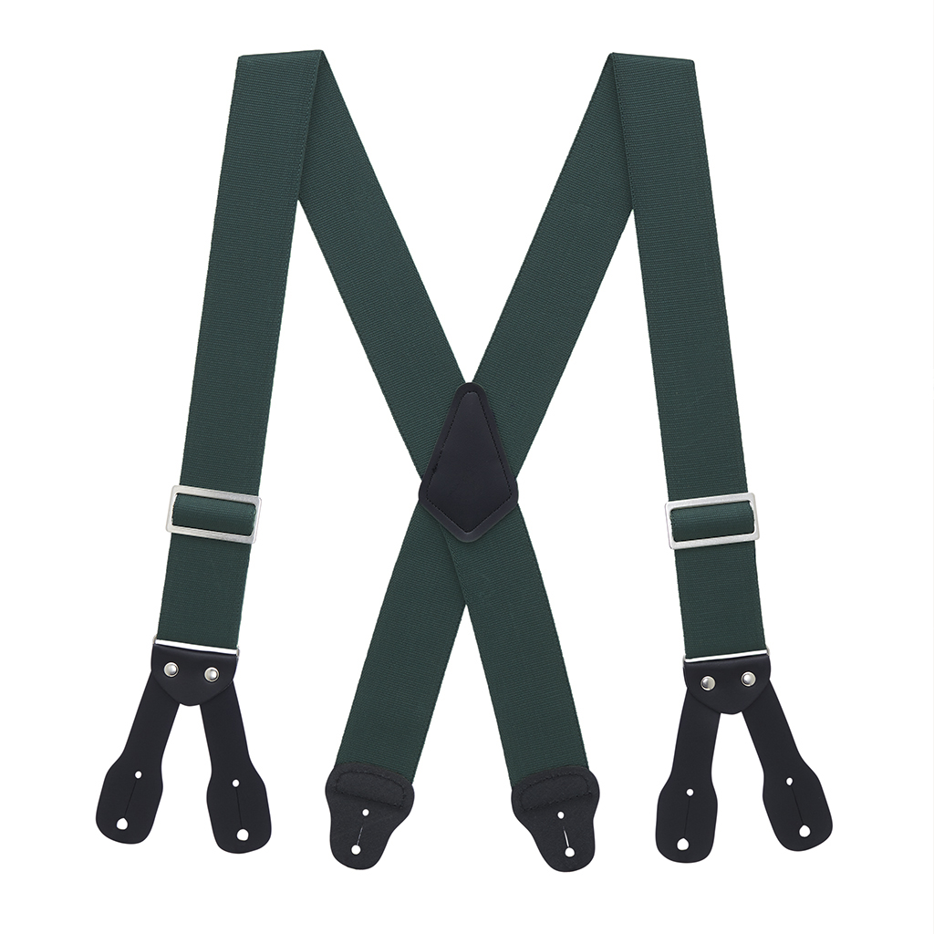 Logger Suspenders in Hunter Green - Full View