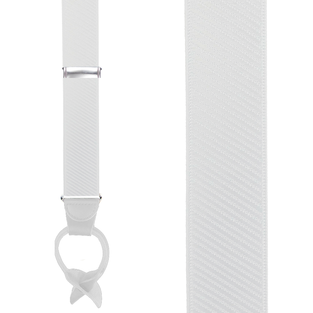 French Satin Twill Suspenders in White - Front View