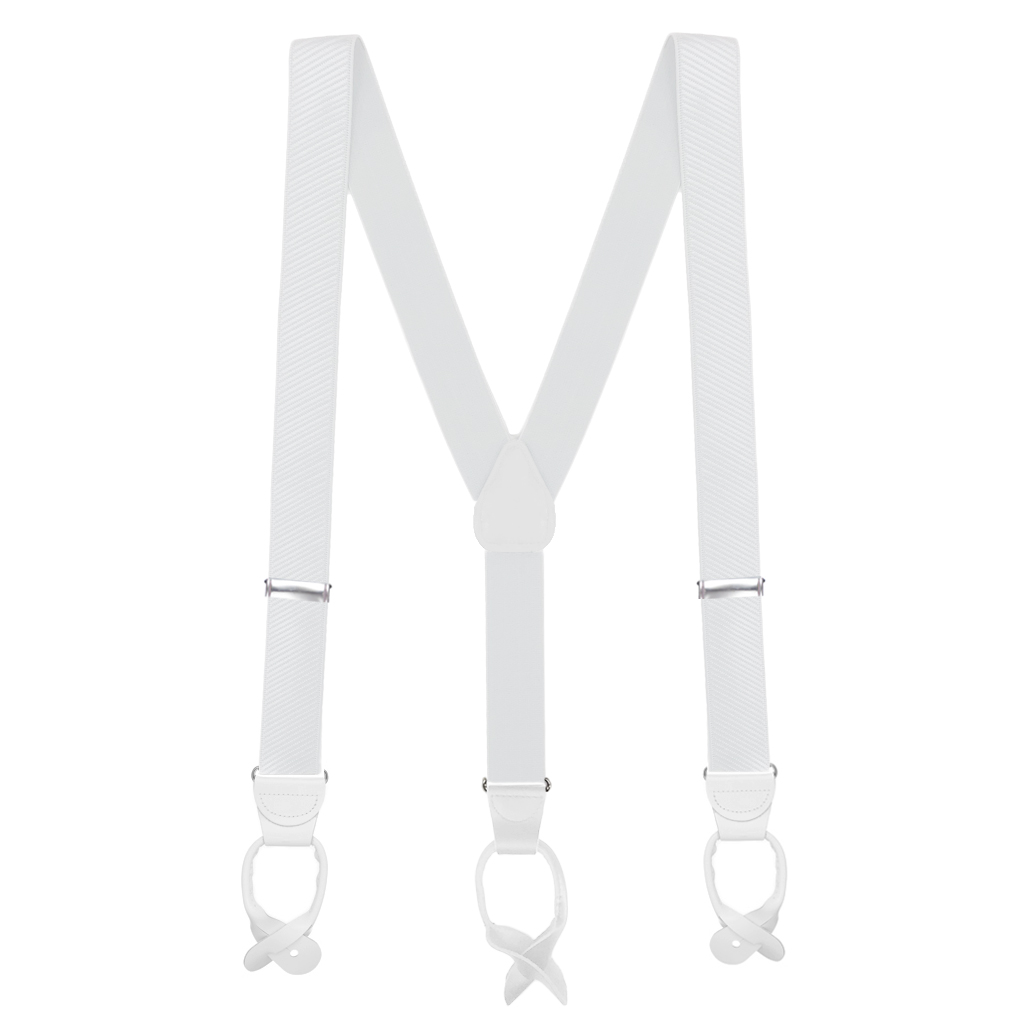 French Satin Twill Suspenders in White - Full View