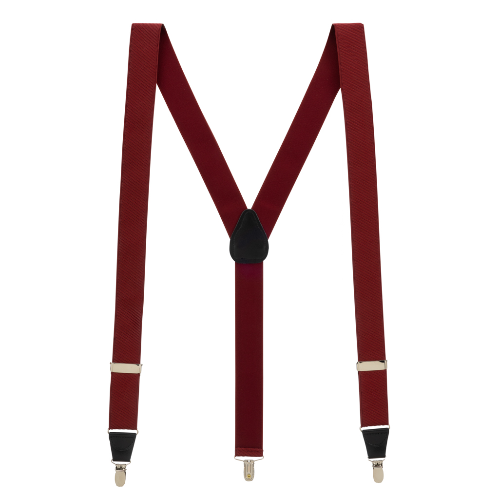 French Satin Twill Suspenders in Wine - Full View