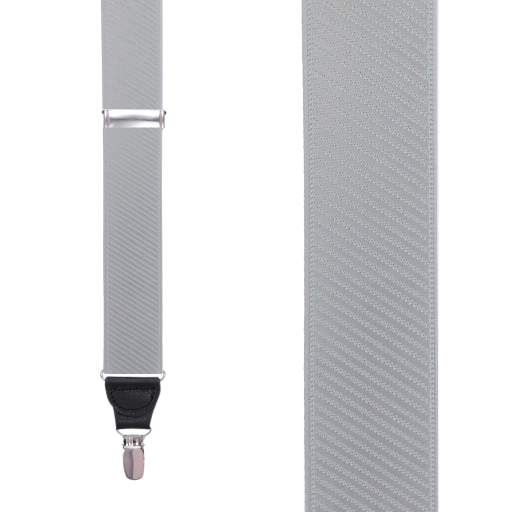 French Satin Twill Suspenders in Light Grey - Front View