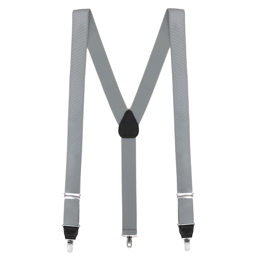 French Satin Twill Suspenders in Light Grey - Full View