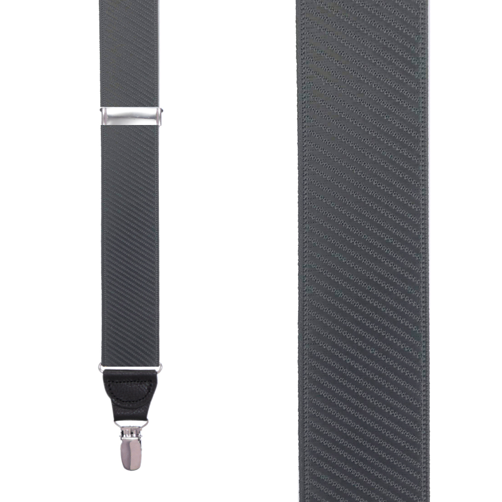 French Satin Twill Suspenders in Dark Grey - Front View