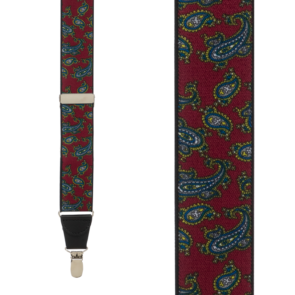 Paisley Drop Clip Suspenders in Burgundy - Front View