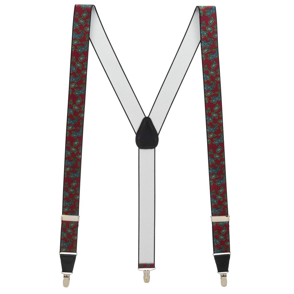 Paisley Drop Clip Suspenders in Burgundy - Full View