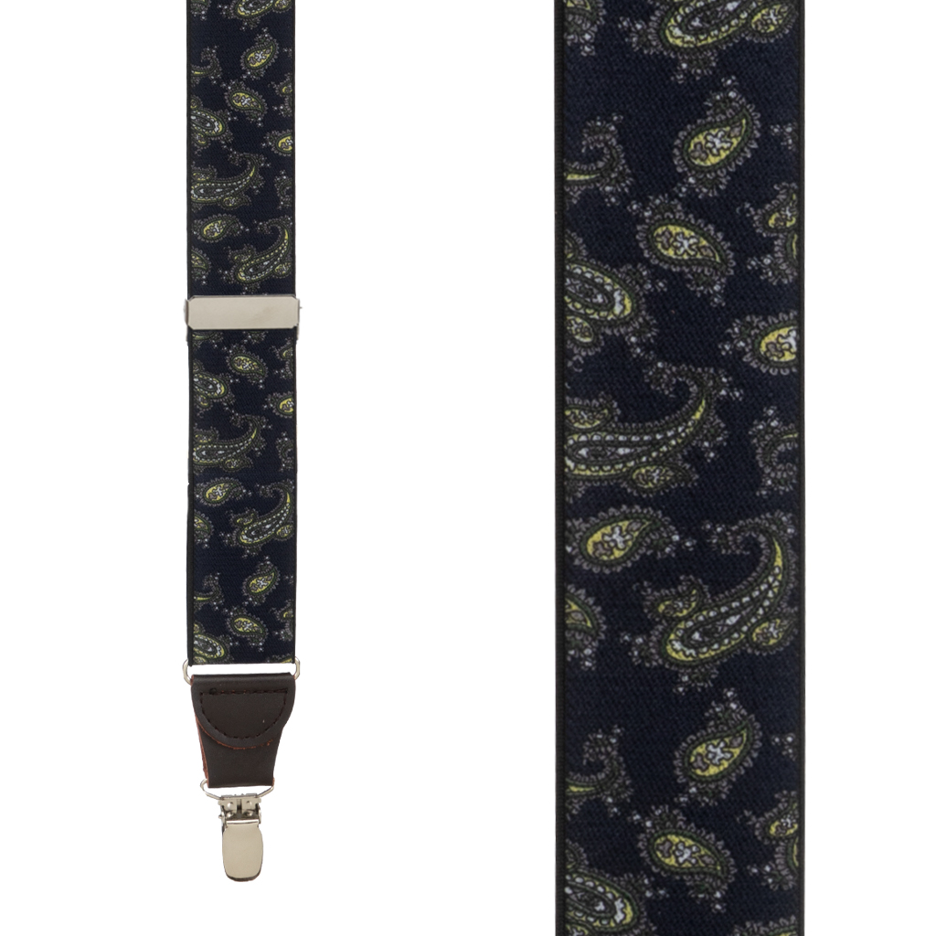 Paisley Drop Clip Suspenders in Navy - Front View