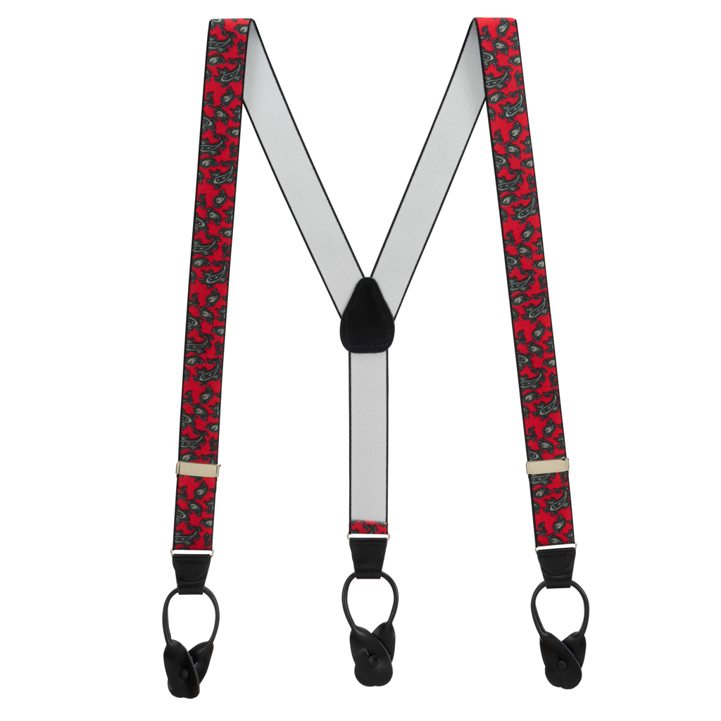 Paisley Button Suspenders in Red - Full View