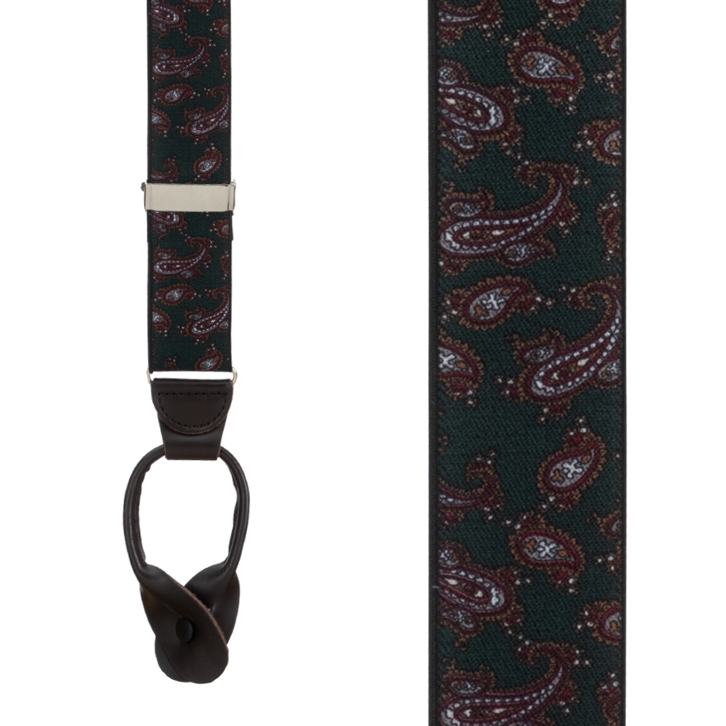 Paisley Button Suspenders in Green - Front View