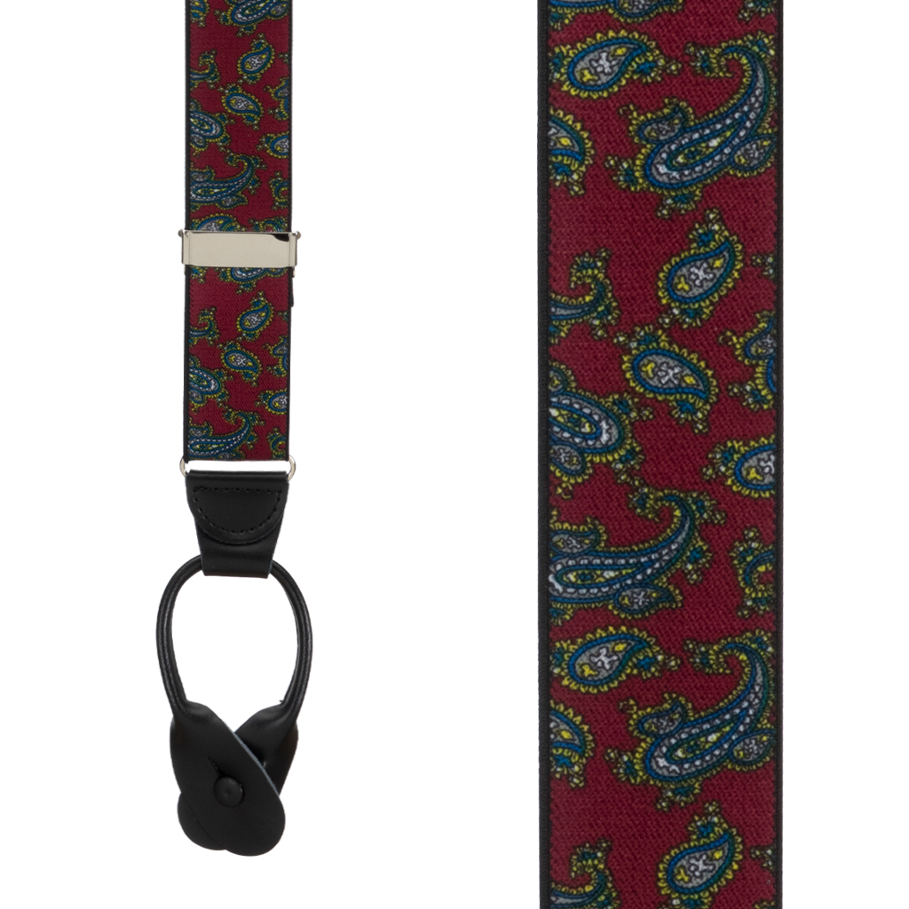 Paisley Button Suspenders in Burgundy - Front View