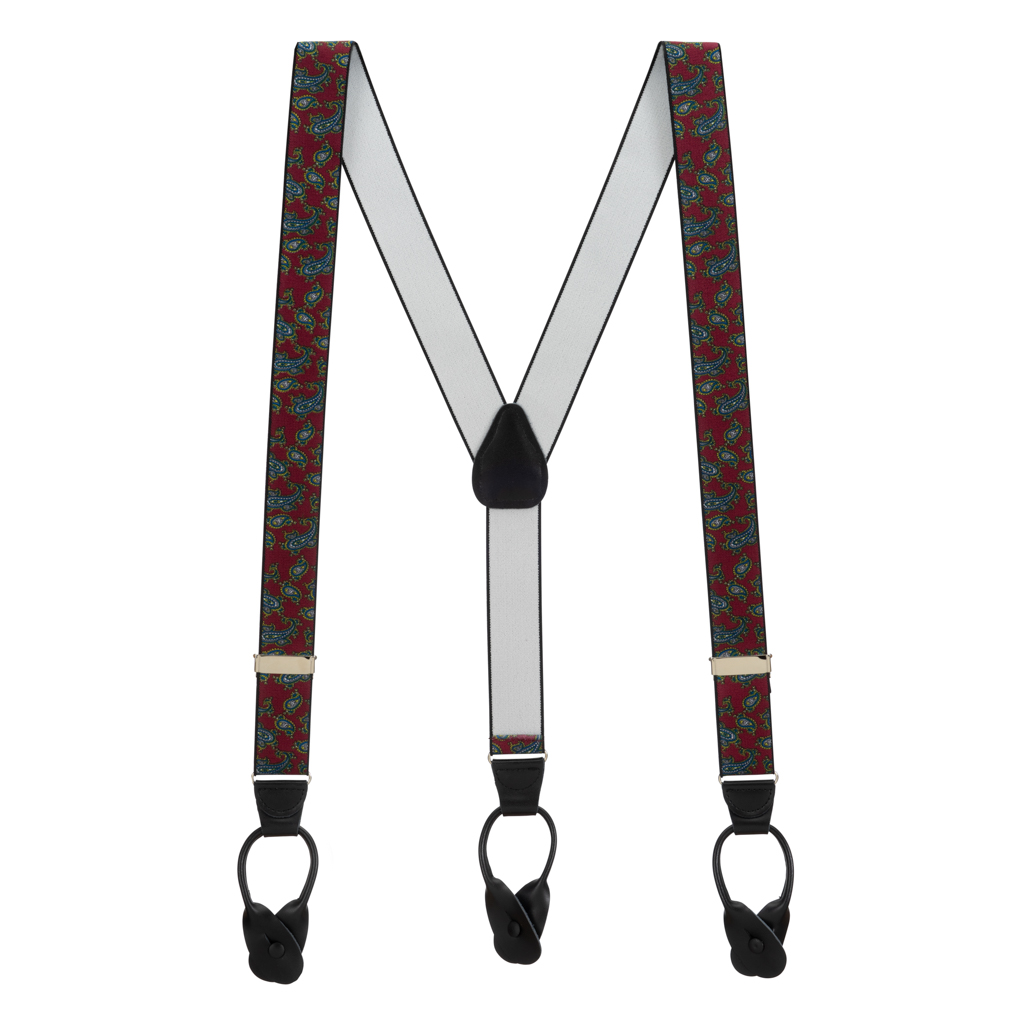 Paisley Button Suspenders in Burgundy - Full View