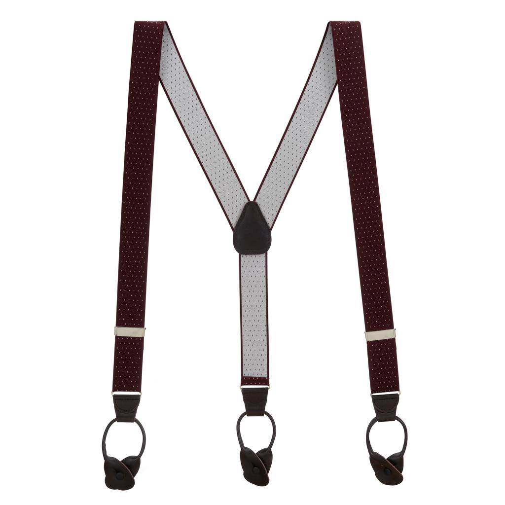Burgundy Woven Pin Dot Suspenders - Full View
