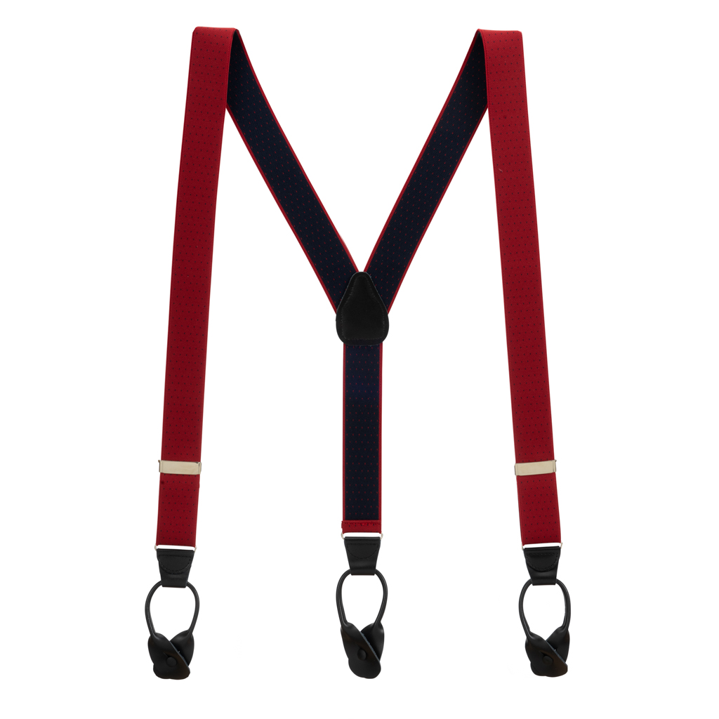 Red Woven Pin Dot Suspenders - Full View