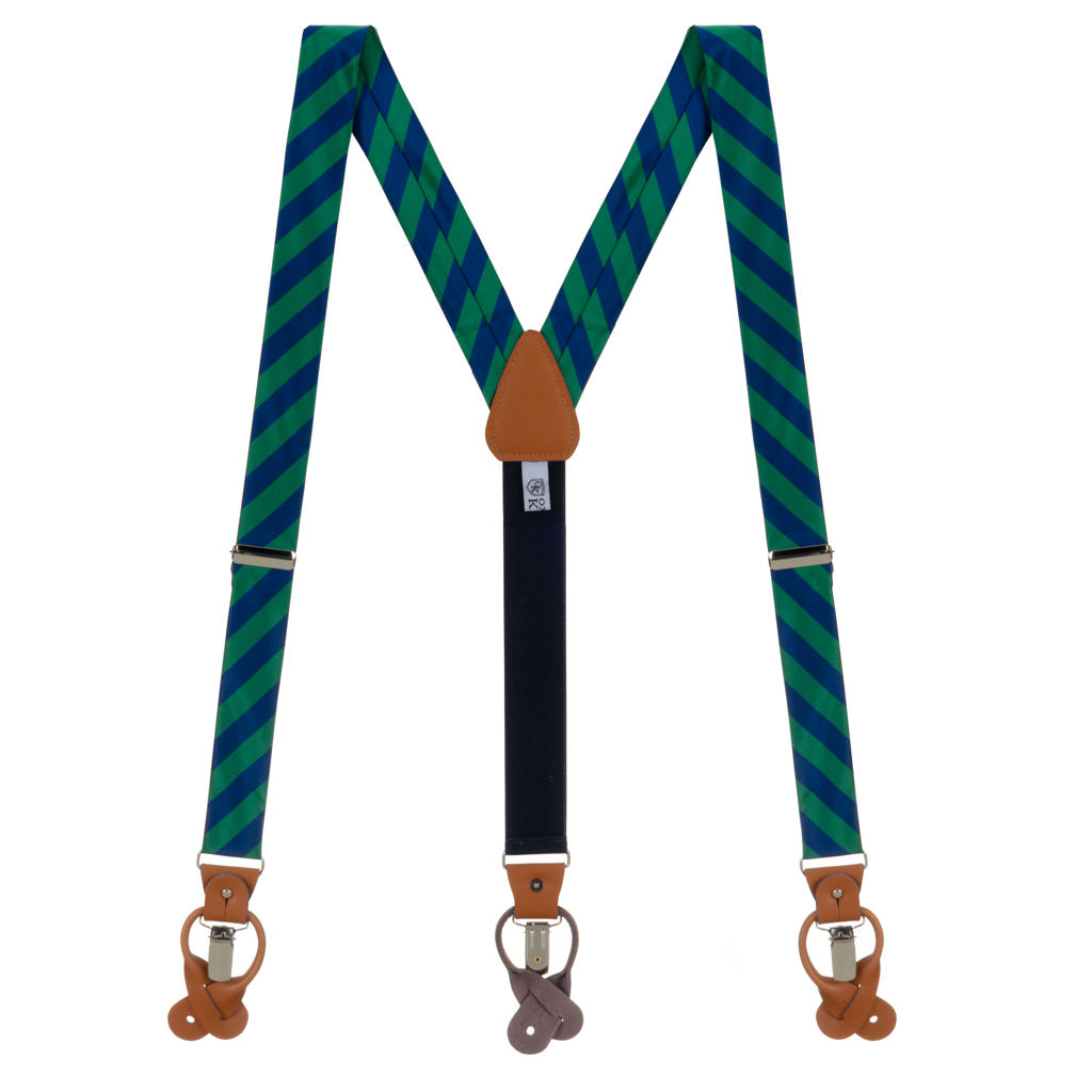 Navy & Lime Striped Suspenders - Full View